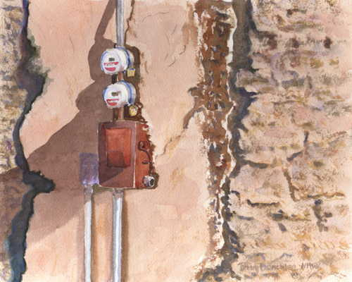 Meters on Adobe Wall 8x10