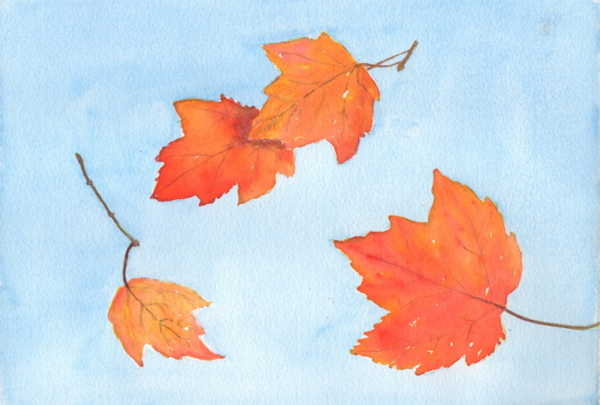 Flying Fall Leaves 7x10